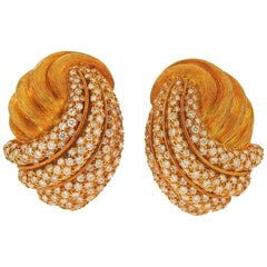 Henry Dunay Diamond Gold Earrings