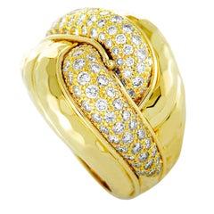 Henry Dunay Diamond Pavé Yellow Gold Bombe Ring
