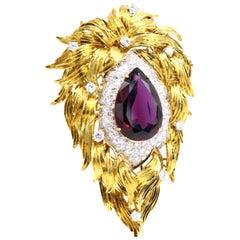 Henry Dunay Diamond Rhodolite Garnet 18 Karat Gold Brooch
