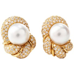 Henry Dunay Diamond South Sea Pearl 18 Karat Clip-On Earrings
