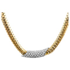 Henry Dunay Diamond Yellow Gold and Platinum Collar Necklace