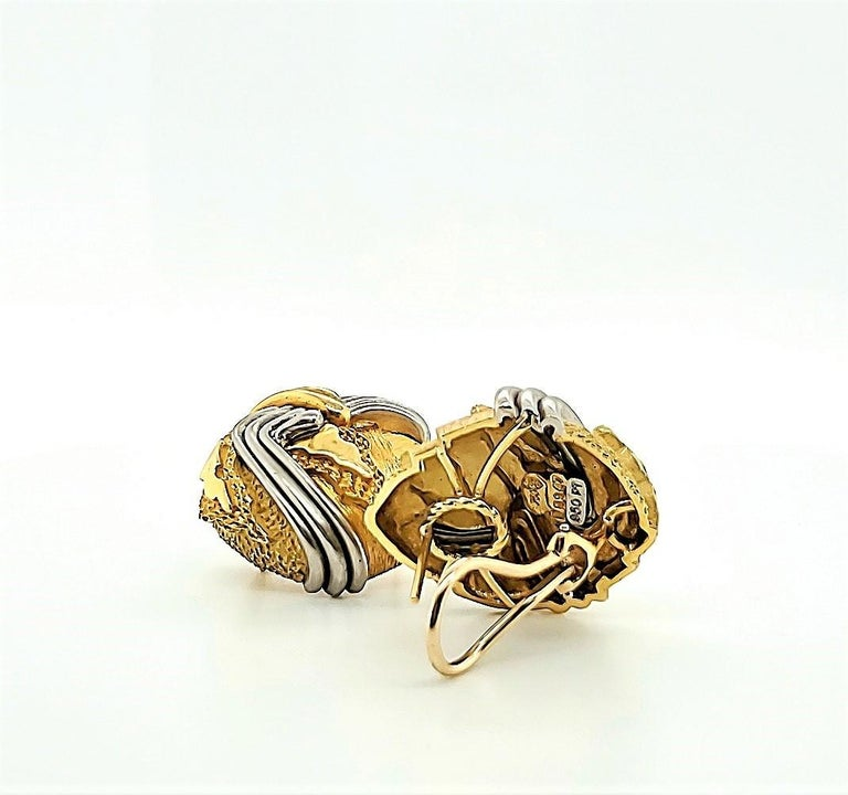 Henry Dunay Gold and Platinum Cinnabar Earrings For Sale 1