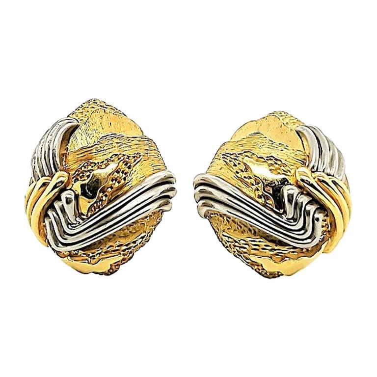 Henry Dunay Gold and Platinum Cinnabar Earrings For Sale