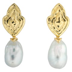 Henry Dunay Gold and South Sea Pearl Drop Earrings
