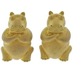 Henry Dunay Gold Hippo Cufflinks
