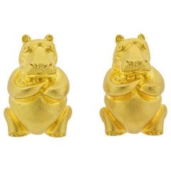 Henry Dunay Gold Hippo Earrings