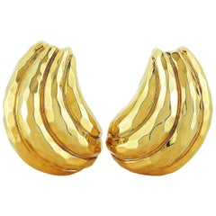 Henry Dunay Hammered 18 Karat Yellow Gold Clip-On Earrings