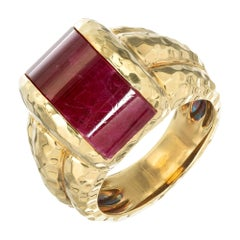 Henry Dunay Hammered Crescent Ruby Gold Cocktail Ring