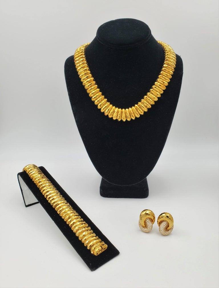 Henry Dunay Hammered Gold Bracelet For Sale 1