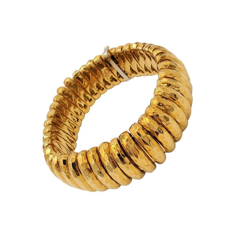 Henry Dunay Hammered Gold Bracelet For Sale