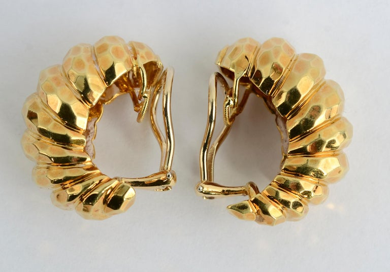 Contemporary Henry Dunay Hammered Gold Half Hoop Earrings For Sale