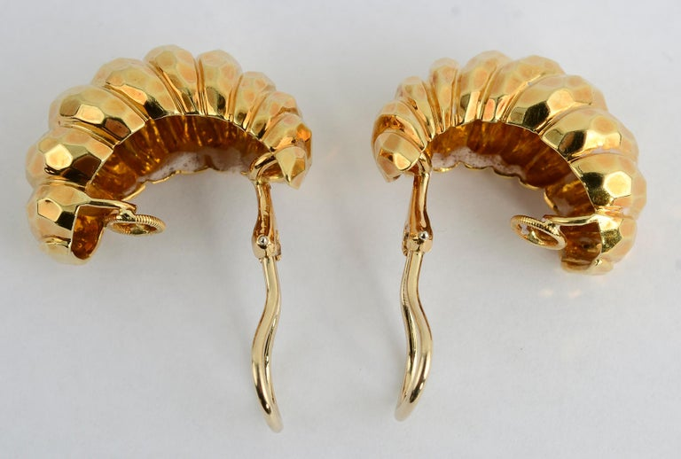 Henry Dunay Hammered Gold Half Hoop Earrings In Excellent Condition For Sale In Darnestown, MD