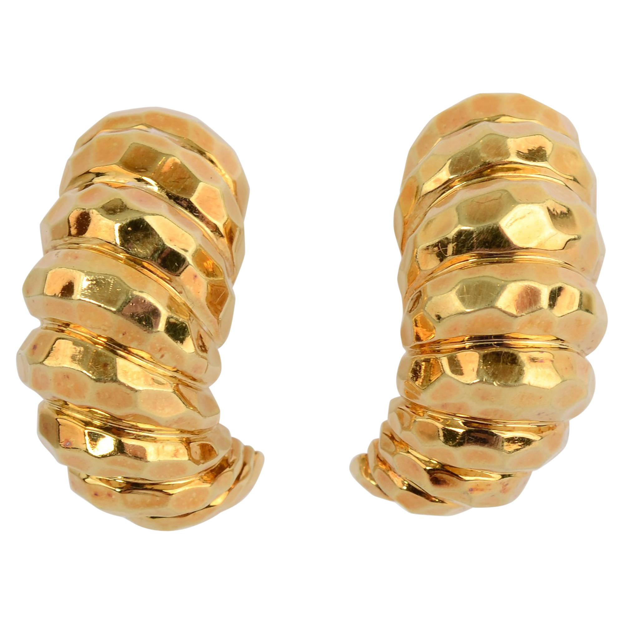 Henry Dunay Hammered Gold Half Hoop Earrings
