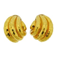Henry Dunay Hammered Gold Half Hoop Earrings