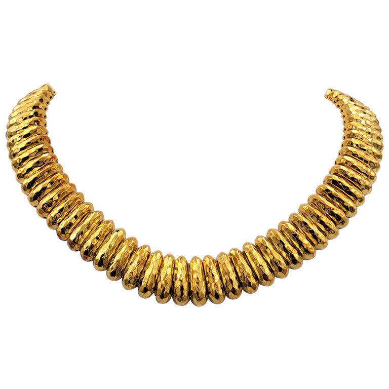 Henry Dunay Hammered Gold Necklace For Sale