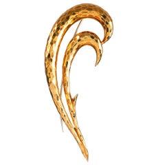 Henry Dunay Hammered Golden Brooch