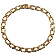 Henry Dunay Hammered Golden Link Necklace