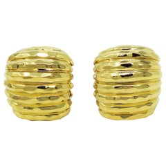 Henry Dunay Hammered Ridged 18 Karat Yellow Gold Clip-On Earrings