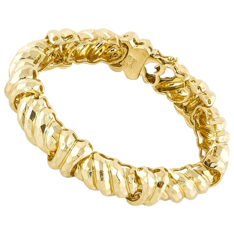Henry Dunay Hammered Yellow Gold Bracelet For Sale