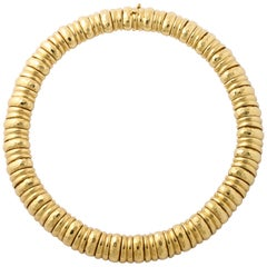 Henry Dunay Hammered Yellow Gold Collar Necklace