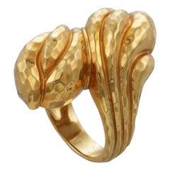 Henry Dunay Hand Hammered 18 Karat Gold Bombe Ring