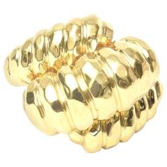 Henry Dunay Hand-Hammered 18 Karat Yellow Gold Ring