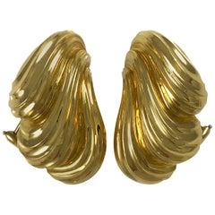 Henry Dunay 18 Karat Gold Heavyweight Earrings