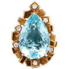 Henry Dunay Large Pear Shape Aquamarine and Diamond Cocktail  Ring