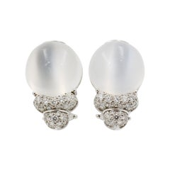 Henry Dunay Moonstone and Diamond 18 Karat White Gold Earrings