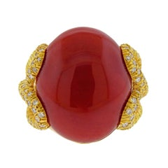 Henry Dunay Oxblood Coral Diamond Gold Ring