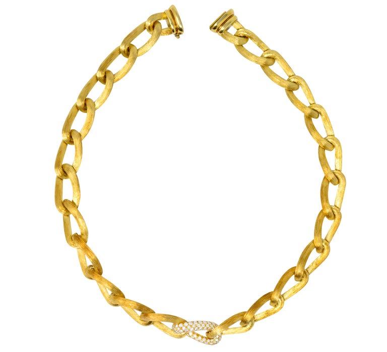 Henry Dunay Retro 2.15 Carat Diamond 18 Karat Brushed Gold Pavã Gabi Necklace For Sale 3