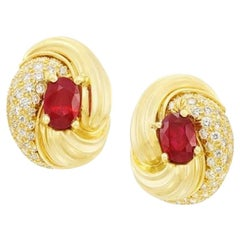 Henry Dunay Ruby and Diamond 18 Karat Gold Knot Earrings, 1980s
