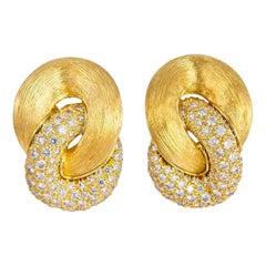 Henry Dunay Sabi Collection Diamond and Gold Earrings