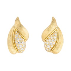 Henry Dunay Sabi Collection Diamond and Gold Earrings