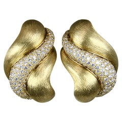 Henry Dunay Sabi Gold and Diamond Clip-On Earrings