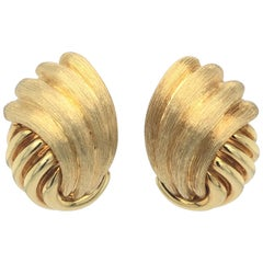 Henry Dunay Sabi Yellow Gold Clip-On Earrings