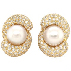 Henry Dunay South Sea Pearl and Diamond Earrings