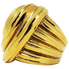 Henry Dunay Wide Ribbed Dome Cocktail Ring in 18 Karat Yellow Gold
