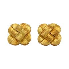 Henry Dunay Woven 18K Yellow Gold Cufflinks