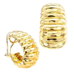 Henry Dunay Yellow Gold Clip-On Hoop Earrings