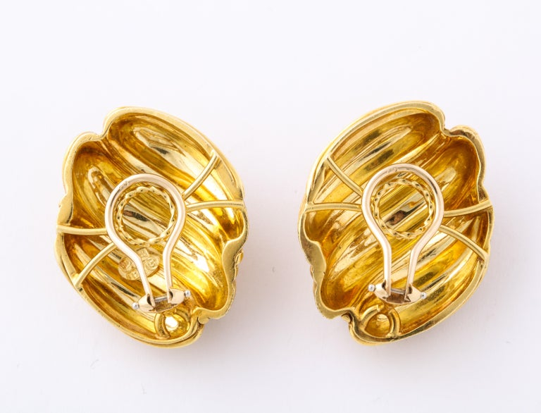 Women's Henry Dunay Yellow Gold Florentine Finish Ear Clips For Sale