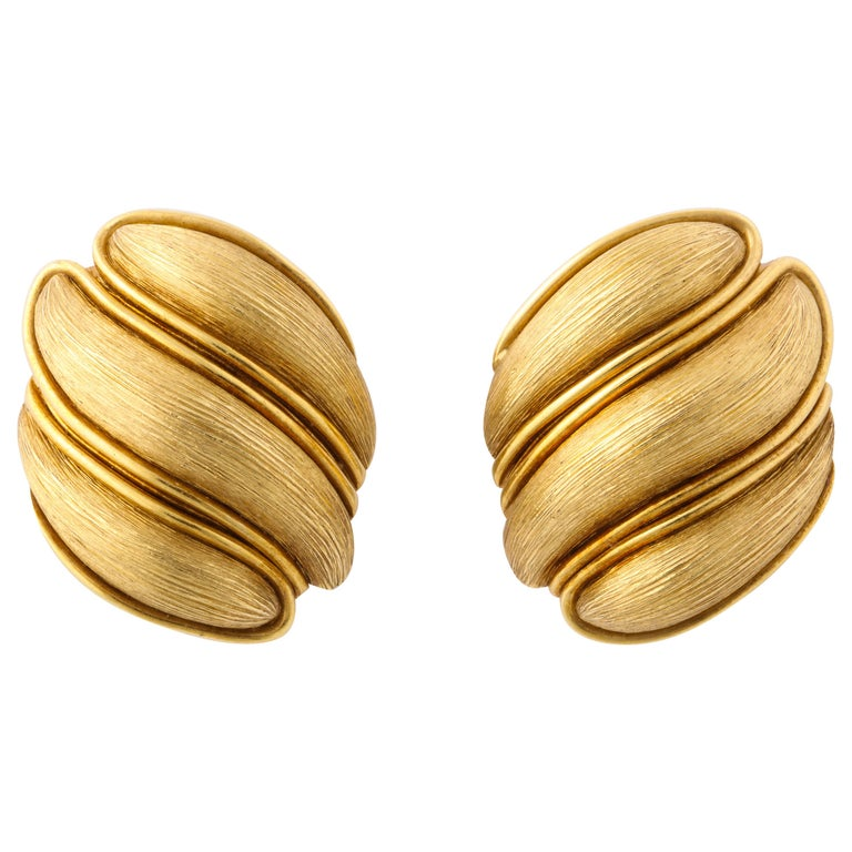 Henry Dunay Yellow Gold Florentine Finish Ear Clips For Sale