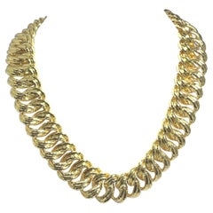 Henry Dunay Yellow Gold Hammered Curb Link Necklace