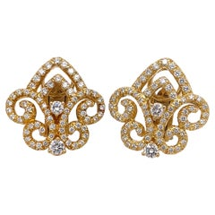 Henry Dunay Yellow Gold Ornate Diamond Earrings