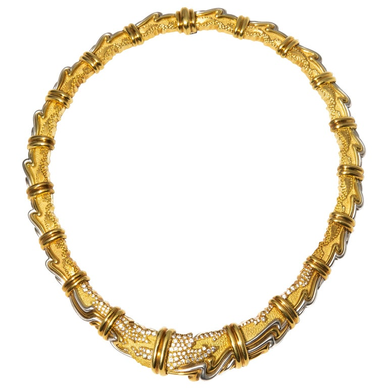 Henry Dunay, Yellow Gold, Platinum and Diamond Collar Necklace For Sale