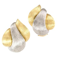 Henry Dunay Yellow Gold Platinum Sabi Clip Earrings