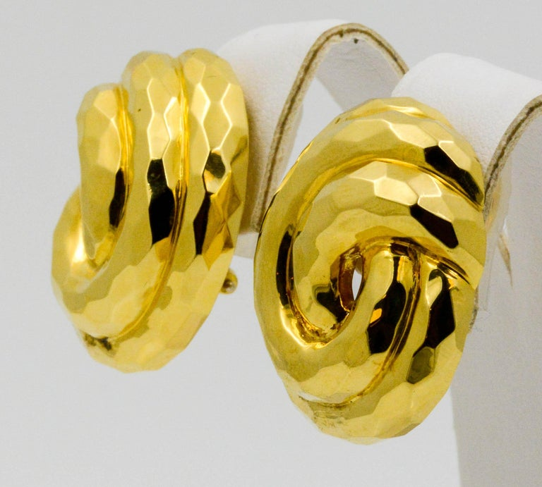 Henry Dunay Yellow Gold Swirl Style Clip Earrings For Sale 1