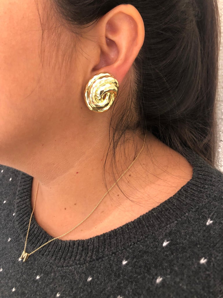 Henry Dunay Yellow Gold Swirl Style Clip Earrings For Sale 5