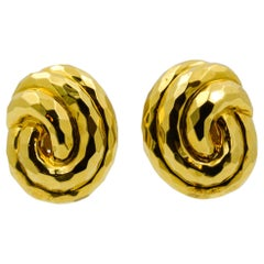 Henry Dunay Yellow Gold Swirl Style Clip Earrings