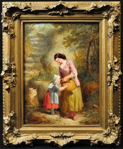 Mother and Daughter at the Well. Original Oil Painting 1861.Victorian Tenderness